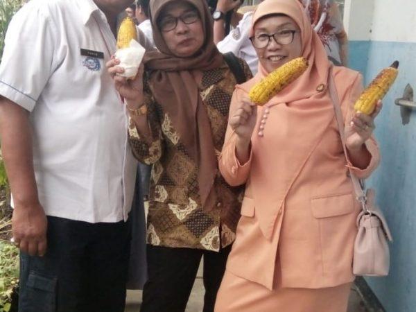 Kegiatan Panen Jagung Dharma Wanita di SMK Negeri 6 Bandung